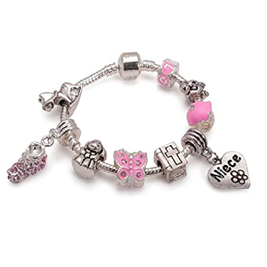 Liberty Charms Children's Eid 'Twinkling Moon and Star' Silver Plated Charm Bead Bracelet D3DpE