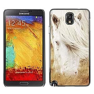 // PHONE CASE GIFT // Duro Estuche protector PC Cáscara Plástico Carcasa Funda Hard Protective Case for Samsung Note 3 N9000 / Albino caballo blanco del semental /