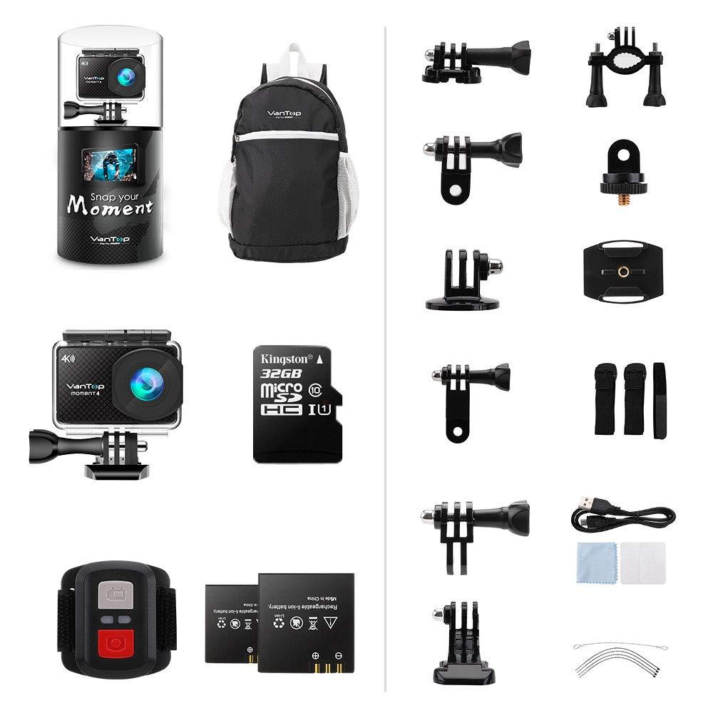 Sensor de Gran Angular C/ámara Deportiva 4 K WiFi con Pantalla t/áctil y 32 GB Impermeable 20 MP VanTop Moment 2 bater/ías Tarjeta Micro SD 40 m Mando a Distancia y 22 Accesorios