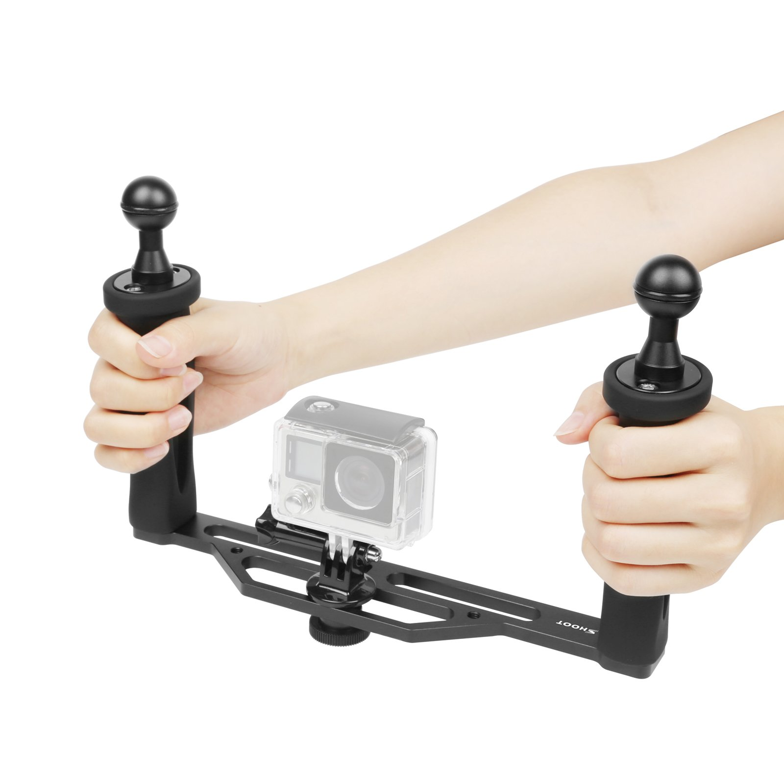 SHOOT Aluminium Alloy Handheld Stabilizer Tray Handle Grip for GoPro 6/5/4/3+/3 SJCAM and 6 inch Dome Port and All LED Video Light Camera Camcorder with 1/4 inch Screw Hole