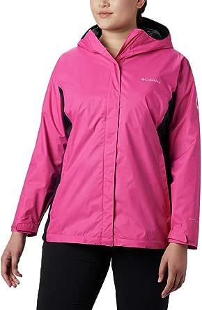 Columbia Women's Plus SizeTested Tough in Pink Rain Jacket Ii Size, Ice/Black