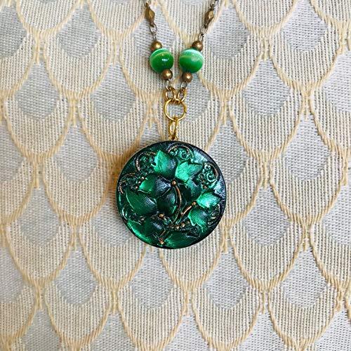 Vintage Czech Green Glass Necklace