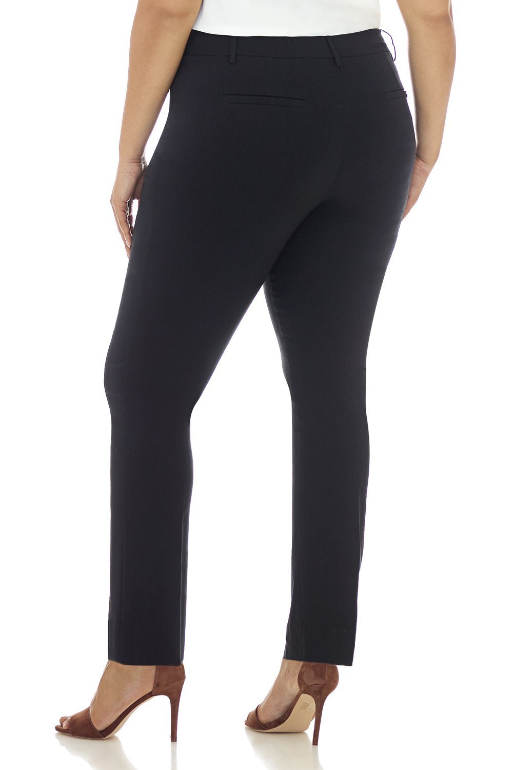 Rekucci Curvy Woman Ease in to Comfort Straight Leg Plus Size Pant w/Tummy Control (18W,Black) by Rekucci (Image #3)