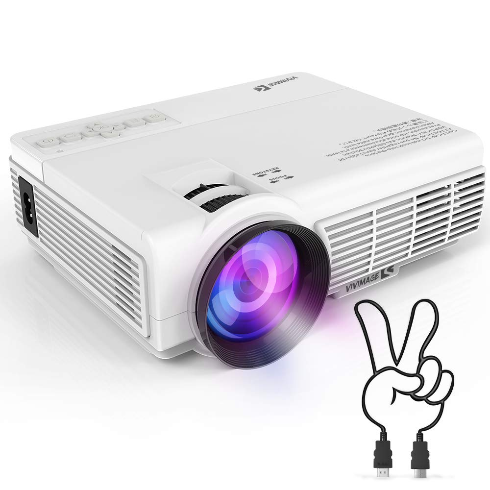 VIVIMAGE C3 Portable Projector with 2600 Lux, Mini Home Cinema Video Projector, Support 1080P 3D, TV Stick, PS4, Xbox, Laptop and Smart Phone with HDMI, VGA, AV, USB by VIVIMAGE