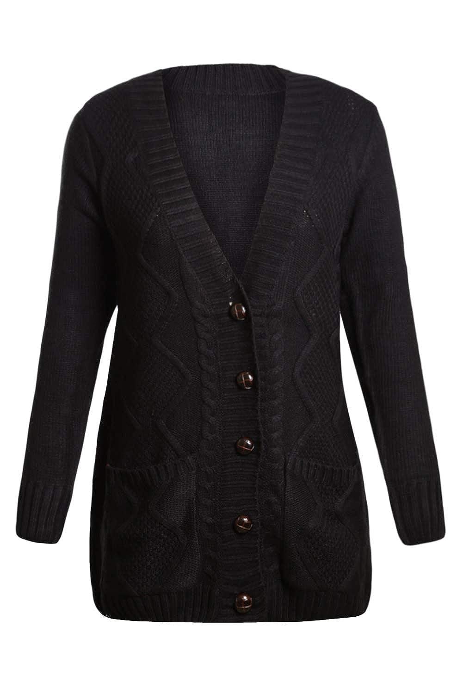 Dokotoo Femme Cardigan Manches Longues Veste Ouvert Poches Épais Tricot  Gilets Long en Maille Outwear Torsadé 190e73090cd3