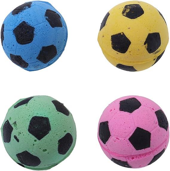 UEETEK 4 Unids Diámetro 4.5 CM Pelota de Juguete Gato Esponja EVA Fútbol Balones de Futbol Cat Kitty Toys (Color Mezclado): Amazon.es: Productos para mascotas