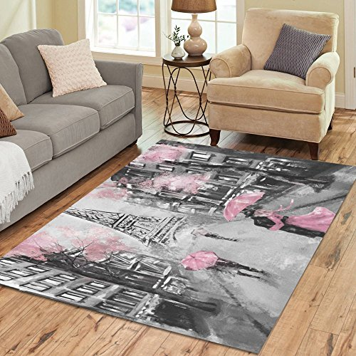 (Love Nature Sweet Home Stores Collection Custom Oil painting street view paris tender Area Rug 5'x3'3'' Indoor Soft Carpet)