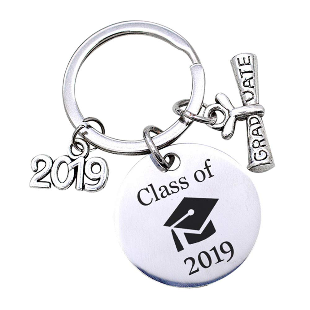 Ss-Lqlhy Class of 2019 English Letter Graduate Keychain Key Ring Holder Organizer Gift Silver Regular