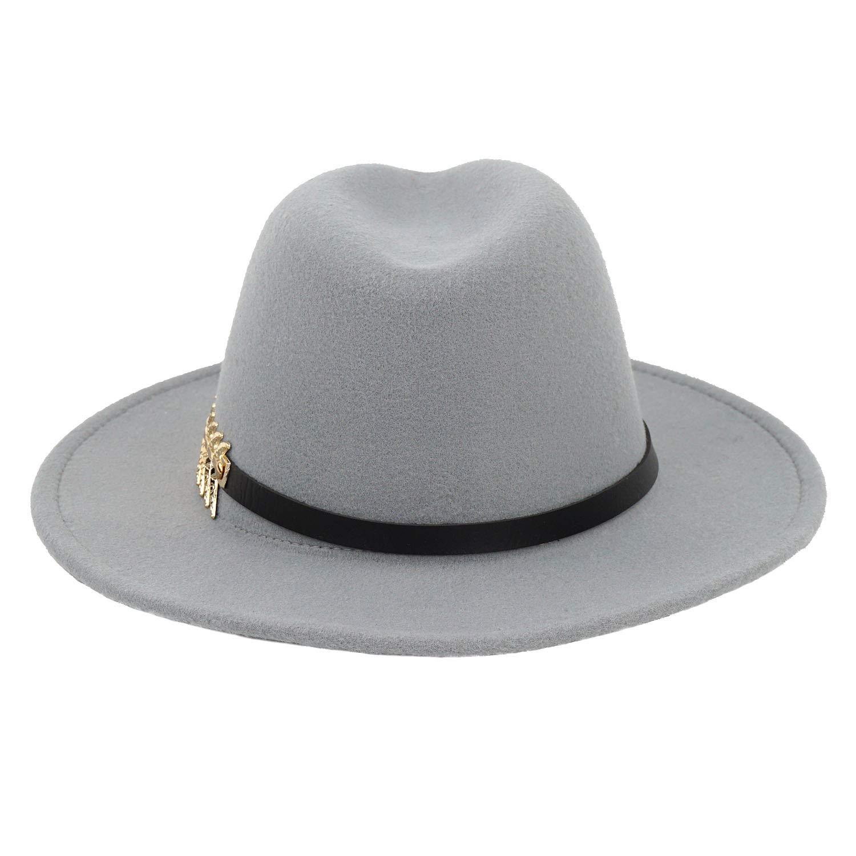 B.J. Women's Wide Brim Wool Floppy Panama Hat with Belt Buckle Fedora Hat Grey by B.J. (Image #6)
