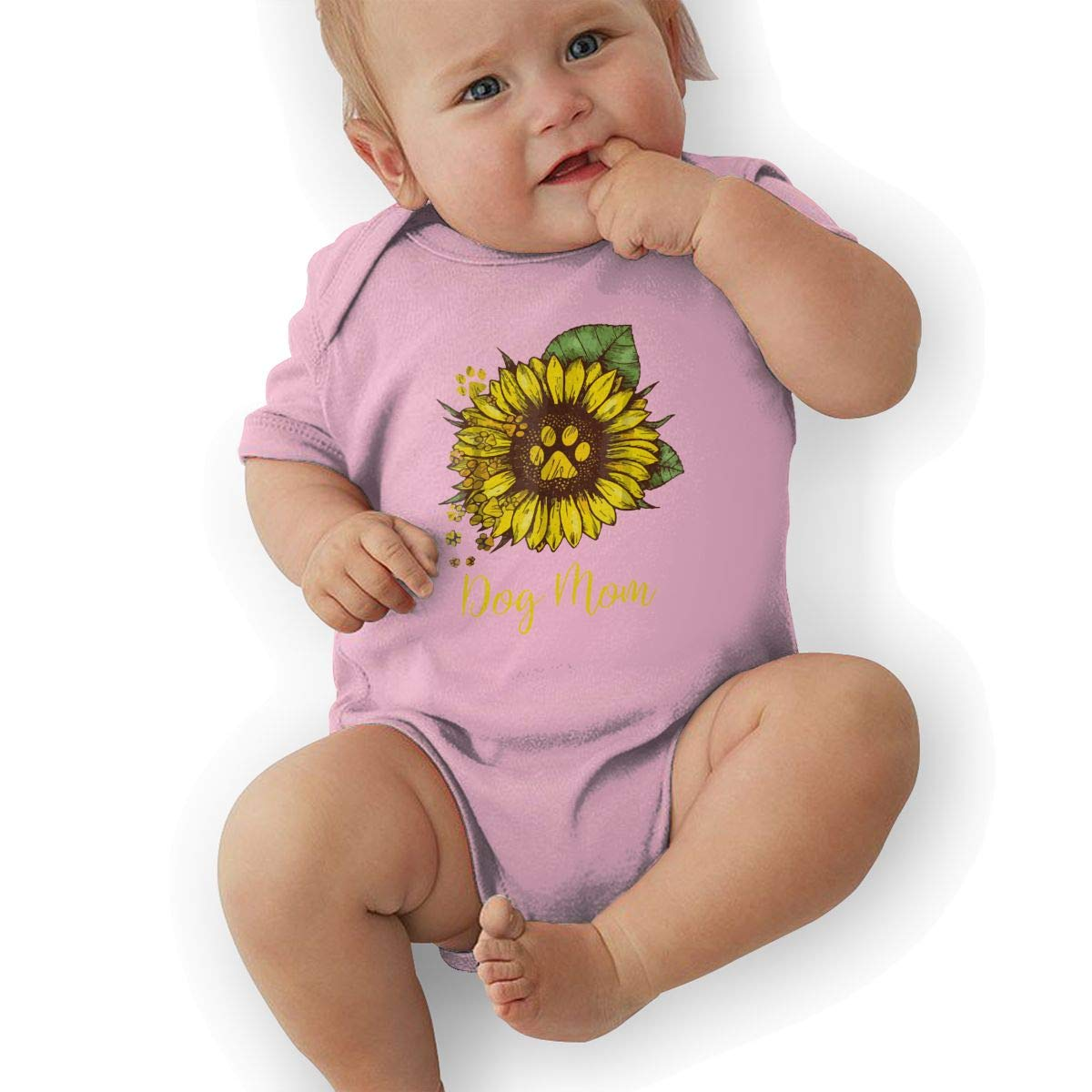 Sunflower Dog Mom Paw Baby Rompers One Piece Jumpsuits Summer Outfits Clothes Pink
