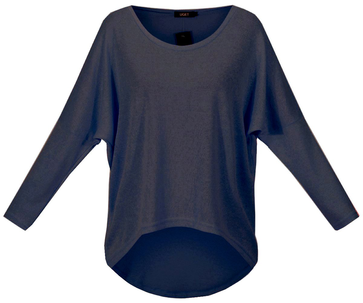 UGET Women's Casual Oversized Baggy Off-Shoulder Shirts Pullover Tops (US 6-8 /Asia M, Navy Blue) by UGET (Image #2)