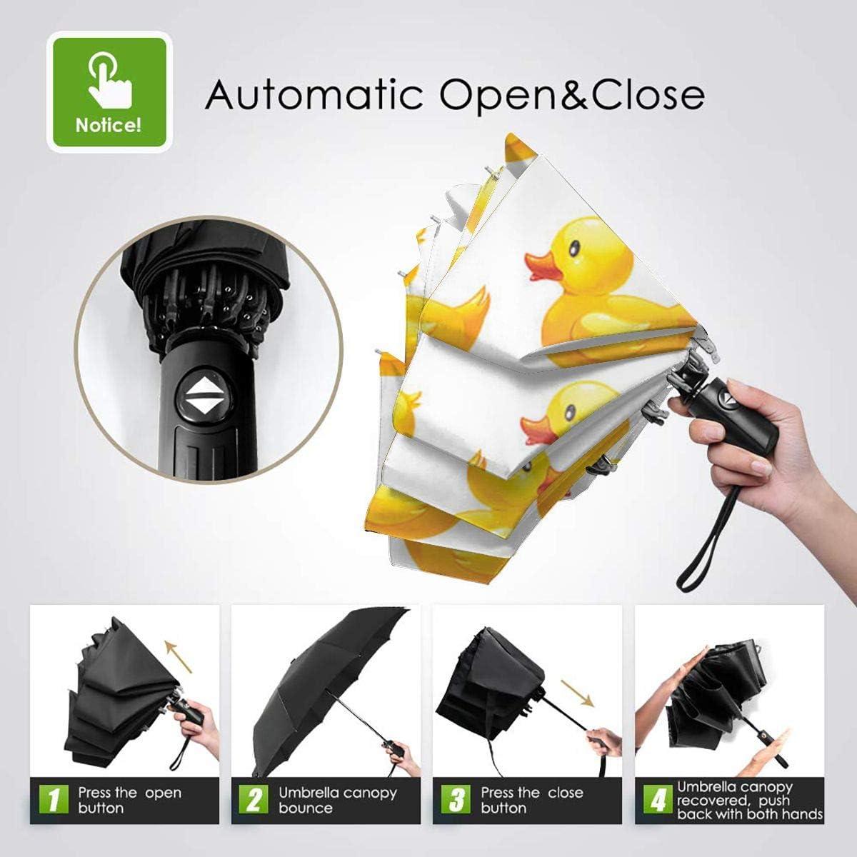 Little Yellow Duck Automatic Tri-Fold Umbrella Parasol Sun Umbrella Sunshade