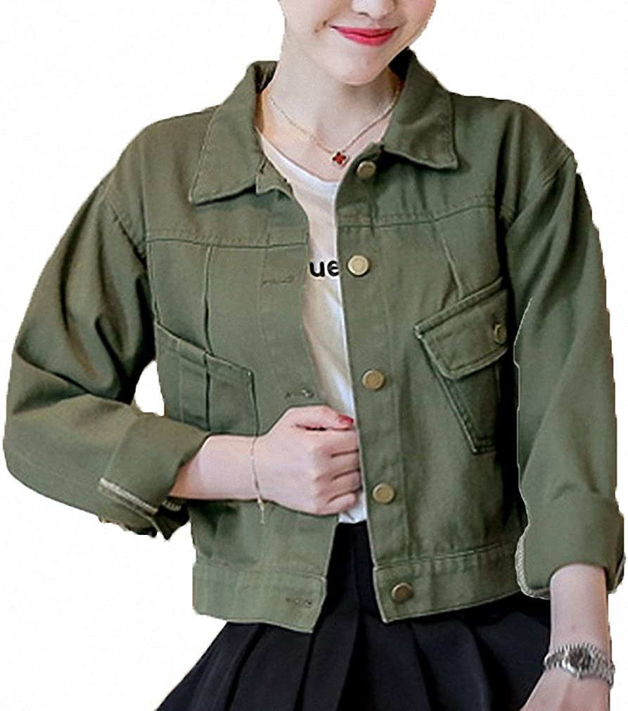 Shirt Womens Jacket Lapel Single-Breasted Loose BF Wind Students Long Section Green Female Blouse,Green,