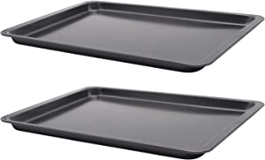 Cookie Sheet 10x14.5 Inch (Inner 9x13) Baking Sheet Nonstick Heavy Carbon Steel Baking Pans, Bakeware for Pizza, Chicken Wings, Fish Sticks, Bacon, Roasting, Mini Muffin Cupcakes by HYTK (2 Pack)