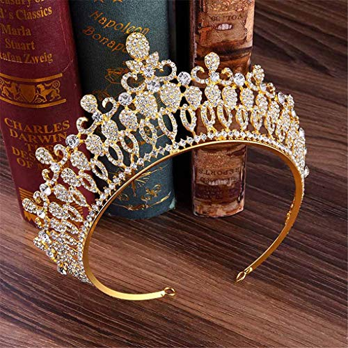 Fashion Hollow Crystal Wedding Diadem Rhinestone Queen Tiaras And Crowns Headbands For Bride Hair Accessories gold