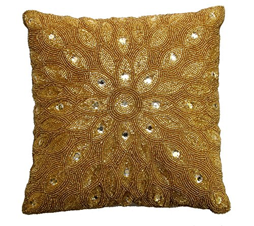 Cotton Craft - Peacock Hand Beaded Decorative Pillow 12x12 Square Gold, Painstakingly and lovingly handmade by skilled Artisans, A beautiful and elegant accessory to dress up your couch, sofa or (Beaded Throw Pillow)