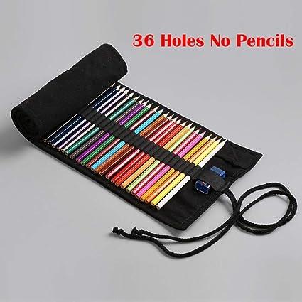 Estuche escolar de lona para lápices Kawaii, 36 agujeros, sin lápices, 12/24/36/48/72: Amazon.es: Oficina y papelería