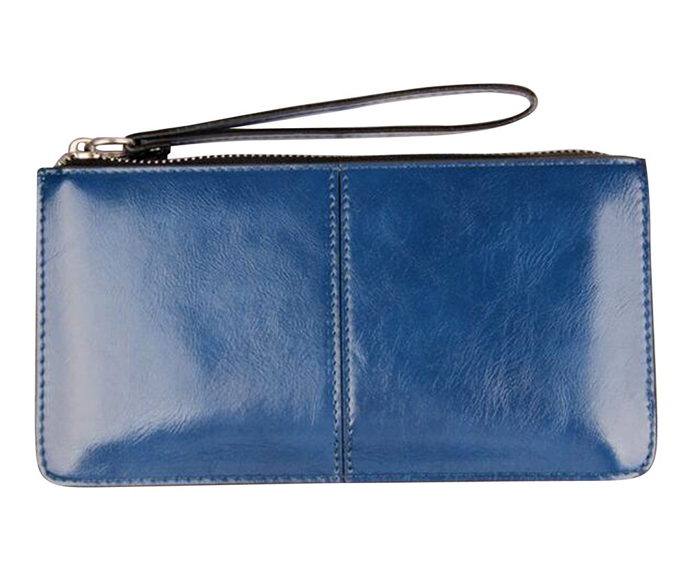 iToolai Women's Solid Color PU Leather Wristlet Clutches Purse Wallet Credit ID Cards Holder,Royal Blue