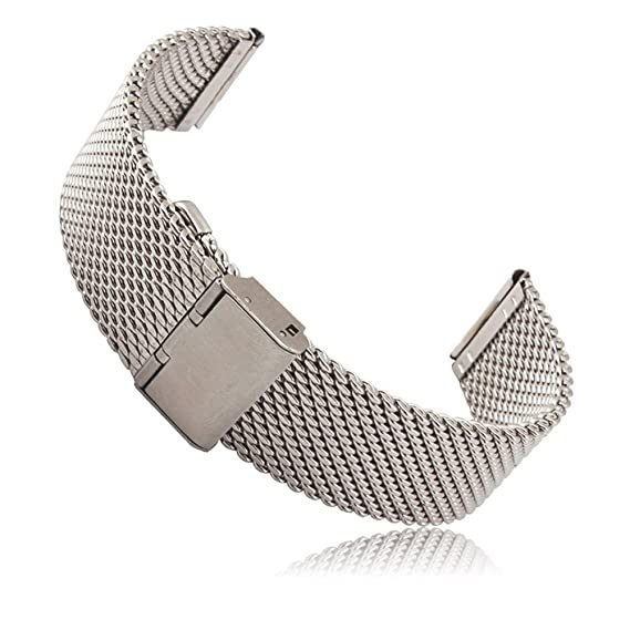 Threeeggs Stainless Steel Watch Band Strap for Pebble Time & Pebble Time Steel Smart Watch (A Milanese Silver)