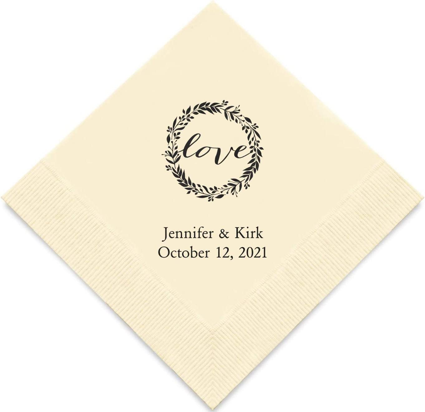 Weddingstar Personalized Printed Paper Napkins 3-Ply 50 Pack - Luncheon Ivory