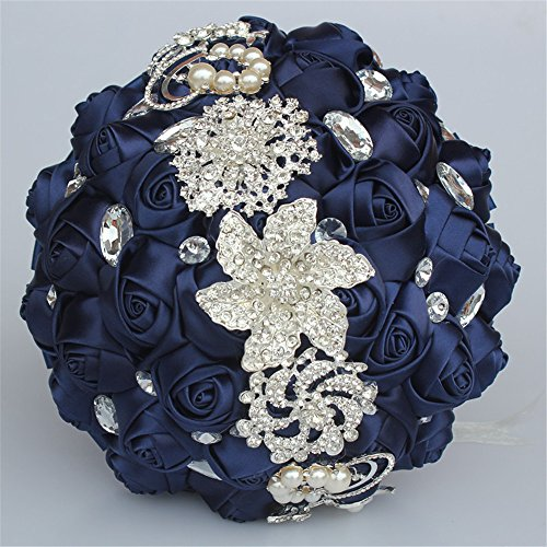 FYSTORE Advanced Customization Romantic Bride Wedding Holding Bouquet Roses with Bead & Diamond Accessory,18CM (Navy Blue)