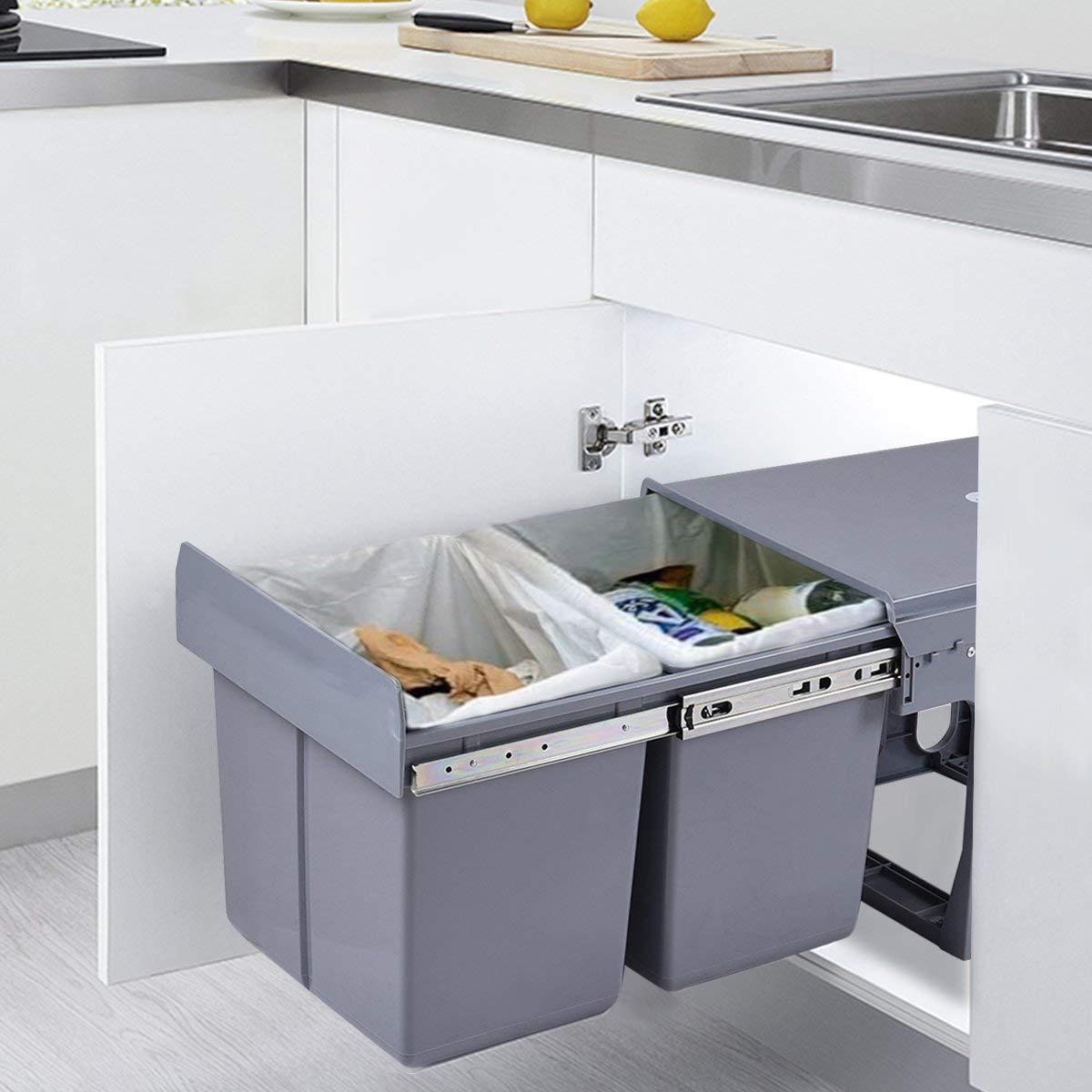 COSTWAY Cubo Basura Compartimento Cocinas con 3 Cubetas,Tomadero y Cubierta Botes de Basura Integrada Sistema Separaci/ón Desechos Basura 10Lx3