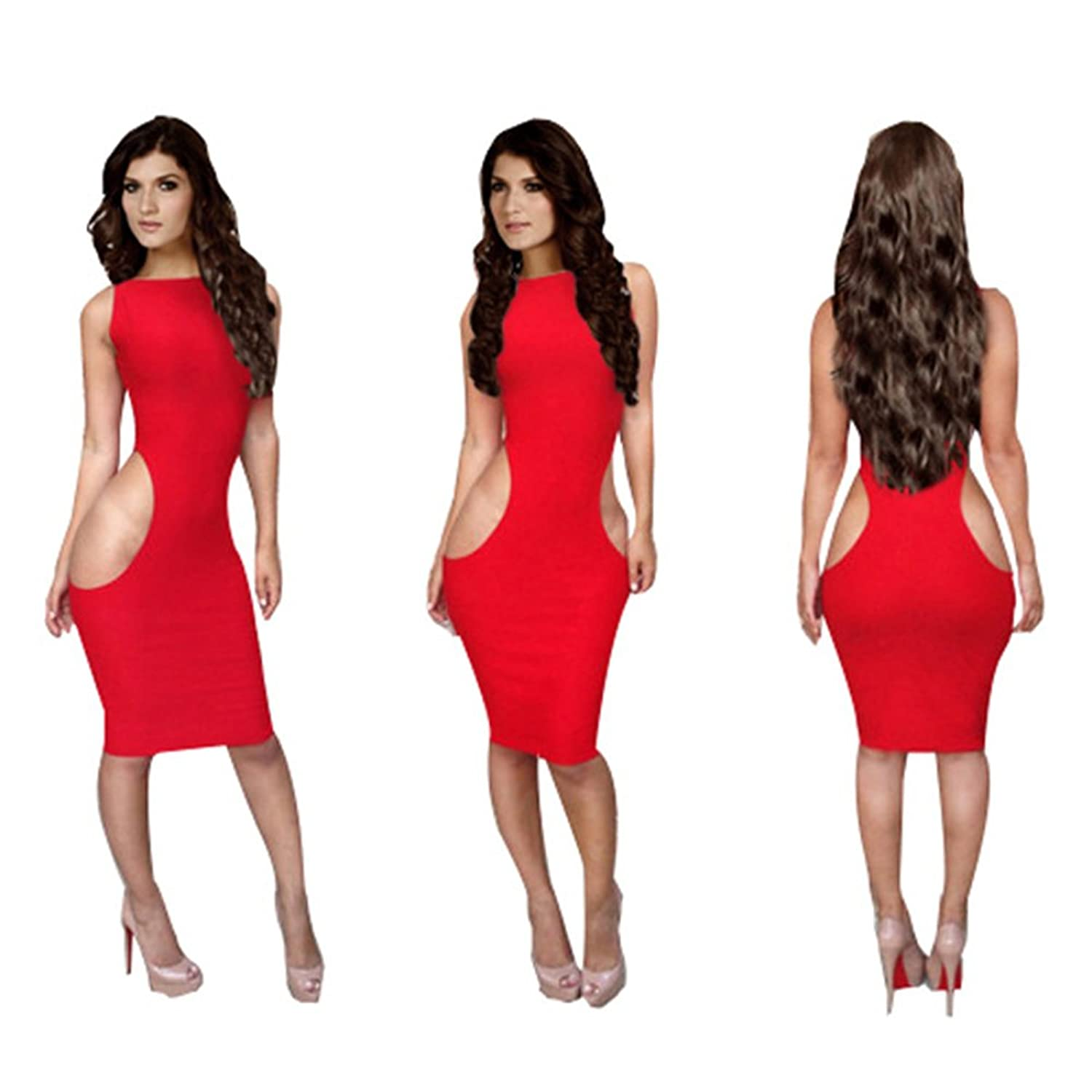Alionz Women Sexy Hollow Hip Red Bandage Clubwear Party Evening Skinny Dress