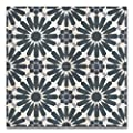 Moroccan Mosaic & Tile House CTP54-03 Alhambra 8''x8'' Handmade Cement Tile in Navy Blue and Gray(Pack of 12), Navy BlueWhiteGray