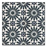 Moroccan Mosaic & Tile House CTP54-03 Alhambra 8''x 8'' Handmade Cement Tile in Navy Blue and Gray(Pack of 12), Navy BlueWhiteGray