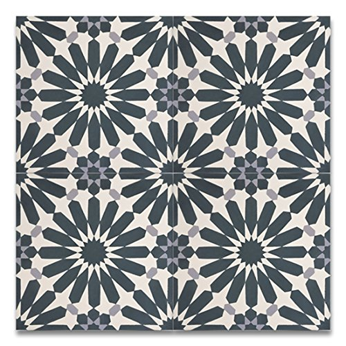 Moroccan Mosaic & Tile House CTP54-03 Alhambra 8''x8'' Handmade Cement Tile in Navy Blue and Gray(Pack of 12), Navy (Handmade Tile)