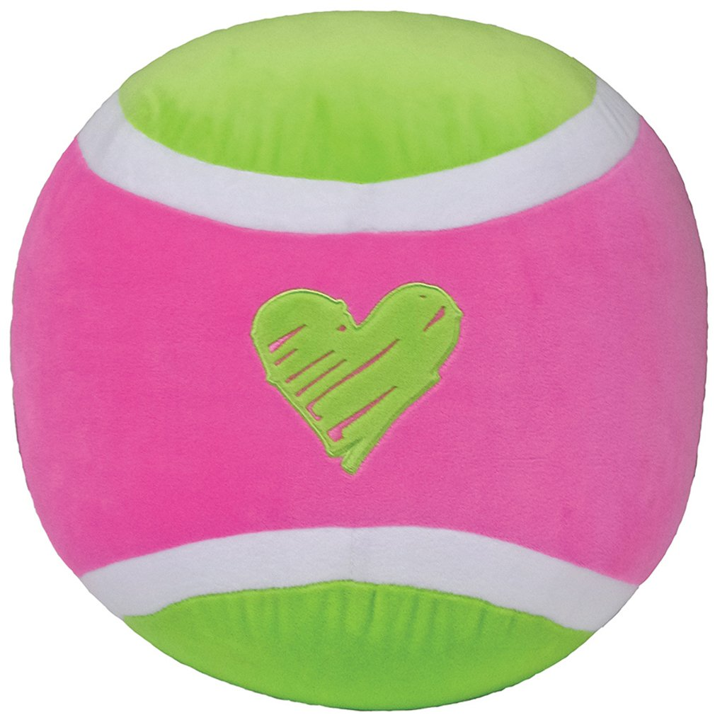 iscream Love-ly! Tennis Ball Shaped Fleece 12'' x 12'' Microbead Pillow with Embroidered Accents