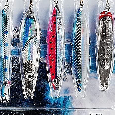 Fladen - Paquete de 5 señuelos cuchara de pesca para lago y costa ...