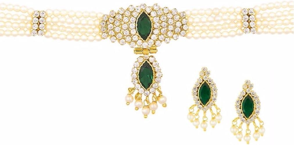 18 K Gold Plated Indian Traditional Jhumka /& Choker Necklace Set Women Jewelry