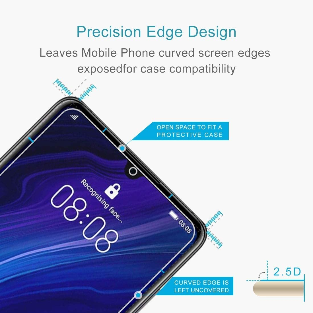 CAIFENG Tempered Glass Film Screen Protector 100 PCS 0.26mm 9H 2.5D Tempered Glass Film for Huawei P30 Anti-Scratch
