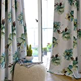 KoTing Polyester Watercolor Flower Pattern Design Art Print Thermal Insulated Blackout Curtains Drapes Grommet Top,1 Panel,50W by 84L-Inch