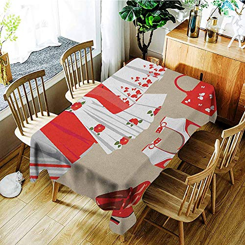 XXANS Rectangular Tablecloth,Heels and Dresses,Summer Young Womens Clothing on Hangers Handbag Shoes Feminine Wardrobe,Table Cover for Dining,W60X90L Multicolor