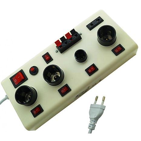 tradeshoptraesio® – Comprobador Banco prueba expositor Bombilla LED casquillo E14 e27 Test luz para tiendas