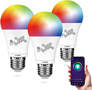 Multicolor 2700k-6500k Dimmable WiFi LED Bulb E27 A19 7W MagicLight Smart Light Bulb No Hub Required Compatible with Alexa Google Home Siri IFTTT 60w Equivalent