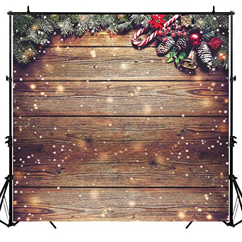 Allenjoy 8X8ft Rustic Christmas Wood Photography Backdrop Sparkle Bokeh Brown Wooden Board Vintage Wall Floordrop Winter Family Party Decorations Holiday Xmas Background Portrait Studio Photo Booth (Of Christmas Vintage Photographs)