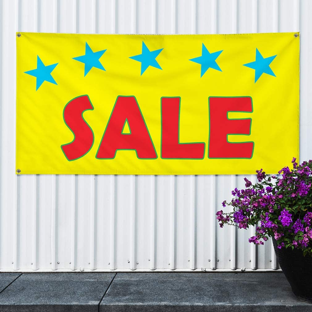 Vinyl Banner Sign Sale Yellow Red Blue Business Sale Marketing Advertising Yellow 6 Grommets Multiple Sizes Available Set of 2 32inx80in