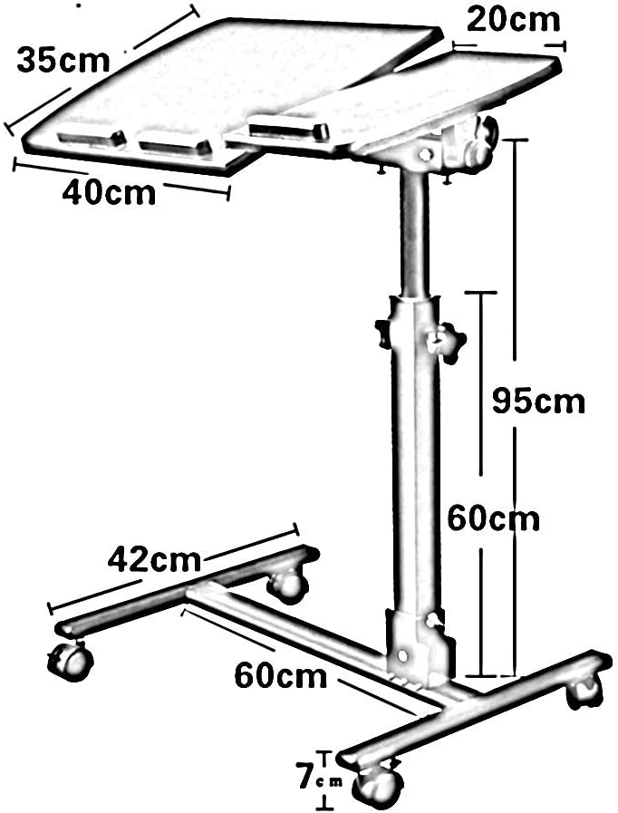 GWM Computer armoires Portable Laptop Stand Desk with Mouse Pad Adjustable Height 360/° Swivel Locking Casters