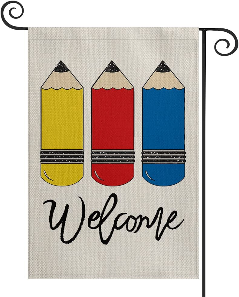 AVOIN colorlife Welcome First Day of School Garden Flag Double Sided, Pencil Mini Flag, Back to School Teacher Appreciation Yard Outdoor Decoration 12.5 x 18 Inch