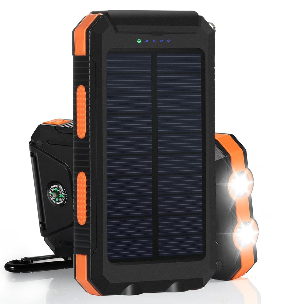 Winn-tech Solar Charger, Solar Phone Charger Power Bank 15000mAh Portable Charger with 2 Fast Charging USB Flashlight Compass Solar Battery Pack with Leather Case for iPhone & Other Android Device