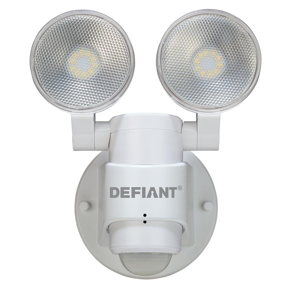 LED Motion Sensor Security Light By Defiant 180 Degree 180 Degree 2-Head White Outdoor Weatherproof Spot Lights Bright Lumens Tool-less Lamp Adjustments