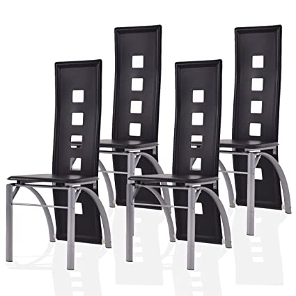 Giantex 4 Pcs Dining Chairs PU Leather Steel Frame High Back Contemporary  Home Furniture (Black
