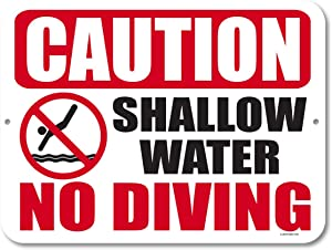 Honey Dew Gifts Pool Decor, Caution Shallow Water No Diving 9 inch by 12 inch Metal Aluminum Pool Signs, Swimming Pool Outdoor Signs, Made in USA