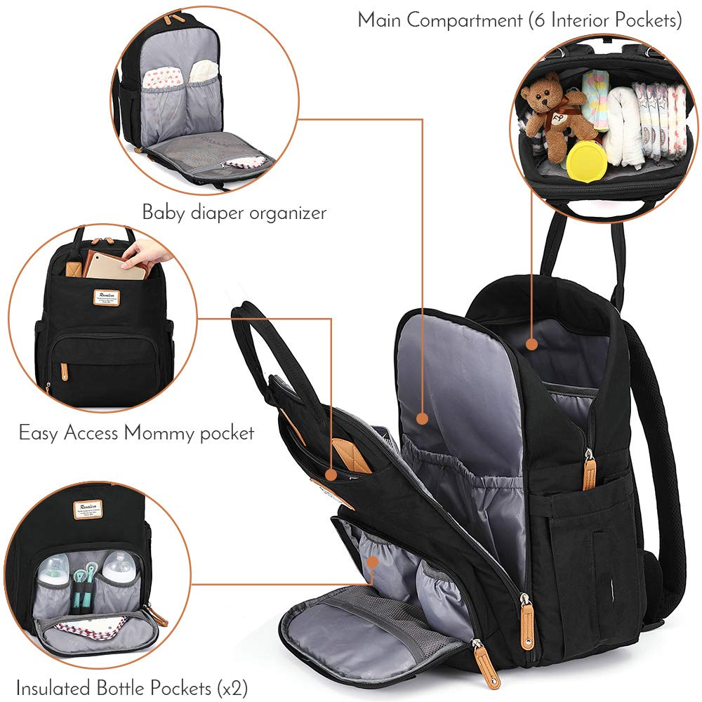 Diaper Bag Backpack, RUVALINO Multifunction Travel Back Pack Maternity Baby Changing Bags, Large Capacity, Waterproof and Stylish, Black