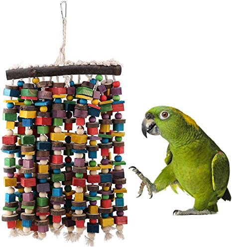 Tnfeeon Juguete para Colgar Loros, pájaro de Madera Natural Juguetes para Masticar Columpios de Loro Juguete para Colgar Escalada de pájaros para una ...