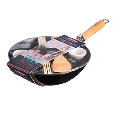 Typhoon Living 6-Piece Carbon Steel, Bamboo and Porcelain Wok Set, 11-Inches, Black