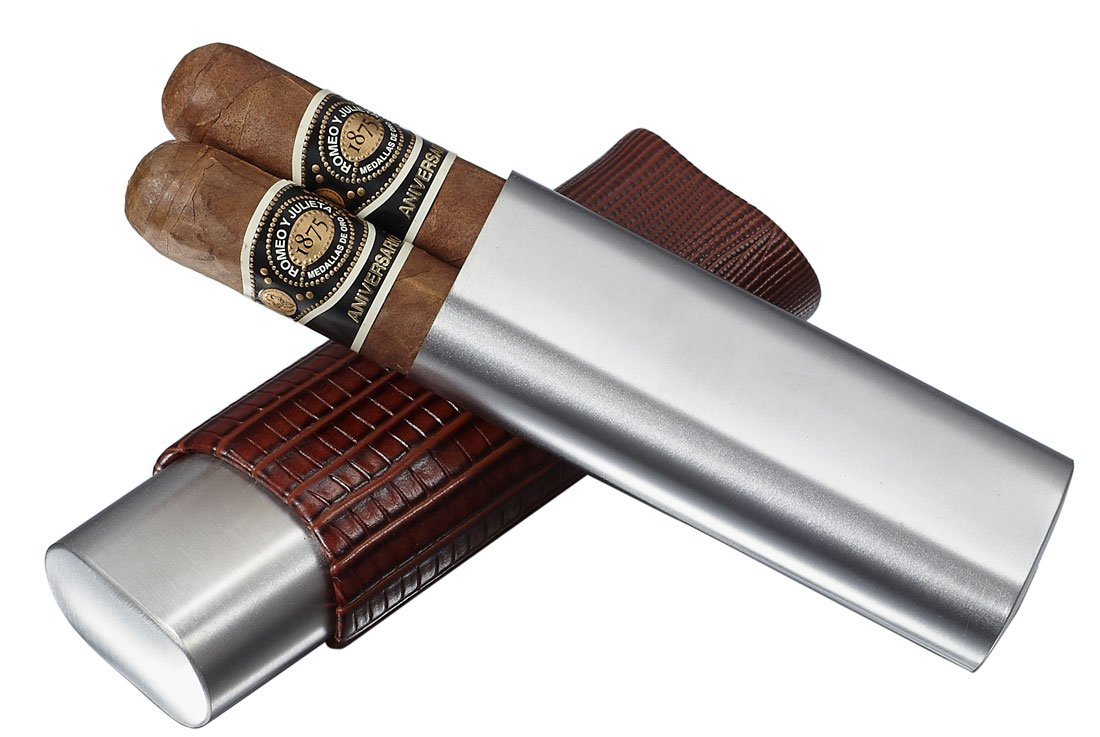 Visol Salerno Brown Leather 2 Finger Cigar Case (Set of 6) by Visol